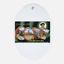 Cody Wyoming Greetings Oval Ornament