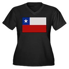 """Chile Flag"" Women's Plus Size V-Neck Dark T-Shirt"