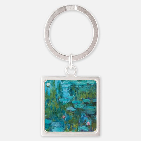 Monet Water Lilies Low Poly Keychains