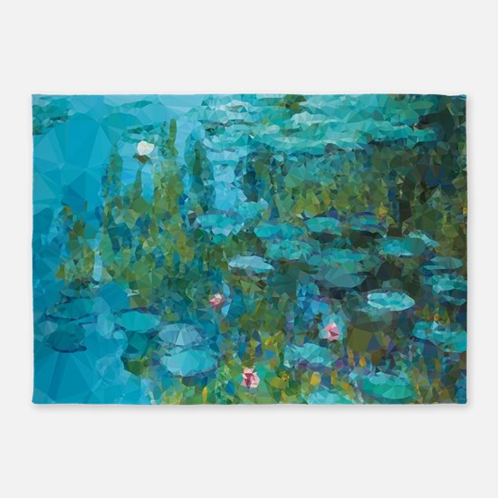 Monet Water Lilies Low Poly 5'x7'Area Rug