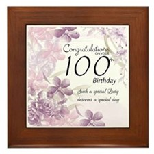 100th Birthday Floral Celebration - Framed Tile