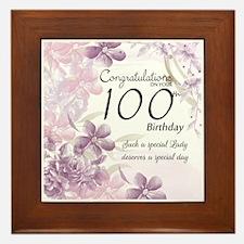 100th Birthday Floral Celebration - Framed Tile