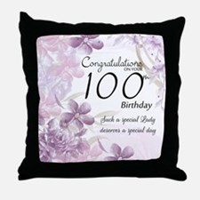 100th Birthday Floral Celebration - Throw Pillow