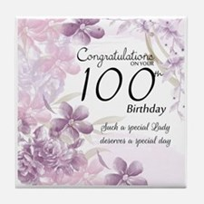 100th Birthday Floral Celebration -Tile Coaster