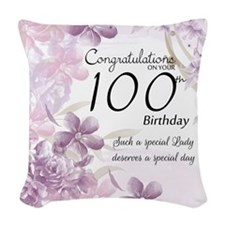 100th Birthday Floral Woven Throw Pillow
