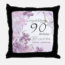 90th Birthday Celebration Design Throw Pillow