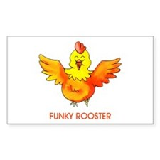 Funky Rooster Sticker (Rect.)