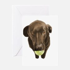 labrador retiever with a tennis ball Greeting Card