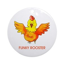 Funky Rooster Round Ornament