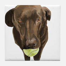 labrador retiever with a tennis ball Tile Coaster