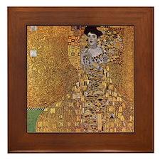 Gustav Klimt Art Framed Tile Adele Gold