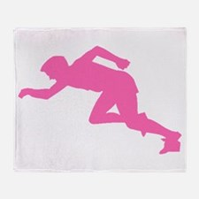 Pink Runner Silhouette Throw Blanket
