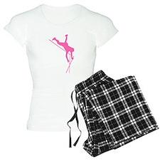 Pink Pole Vaulter Silhouette Pajamas