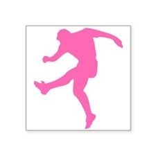 Pink Soccer Player Silhouette Sticker