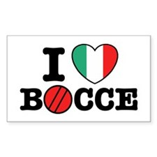I Love Bocce Rectangle Decal