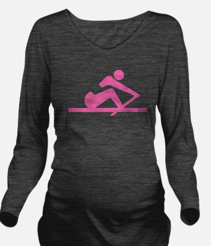 Pink Crew Long Sleeve Maternity T-Shirt