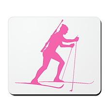Pink Biathlete Silhouette Mousepad