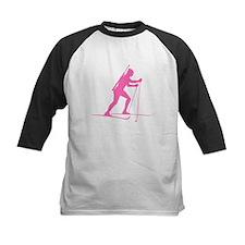 Pink Biathlete Silhouette Baseball Jersey