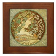 Mucha Ivy Leaves Framed Ceramic Art Tile