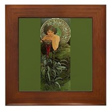 Alphonse Mucha Emerald Framed Fine Art Tile