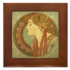 Mucha Laurel Leaves Framed Ceramic Art Tile