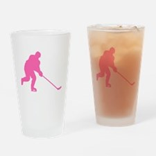 Pink Hockey Player Drinking Glass