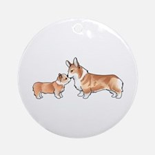CORGI ADULT AND PUP Ornament (Round)