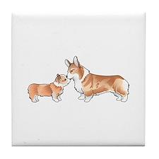 CORGI ADULT AND PUP Tile Coaster