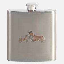 CORGI ADULT AND PUP Flask