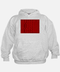 Wool red cable stitches Hoodie