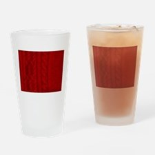 Wool red cable stitches Drinking Glass