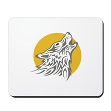 WOLF AGAINST MOON Mousepad