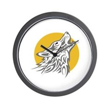 WOLF AGAINST MOON Wall Clock