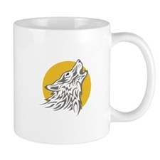 WOLF AGAINST MOON Mugs