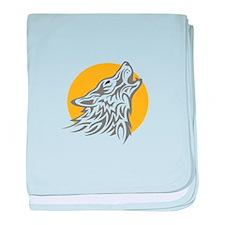 WOLF AGAINST MOON baby blanket