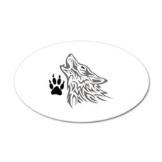 WOLF AND PAW PRINT Wall Decal