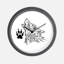WOLF AND PAW PRINT Wall Clock
