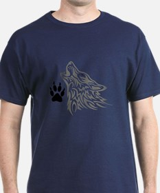 WOLF AND PAW PRINT T-Shirt