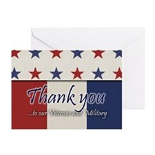 Thank You Veterans RWB Greeting Cards