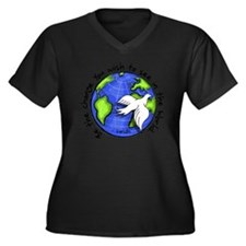 Unique Be the change you wish to see in the world Women's Plus Size V-Neck Dark T-Shirt