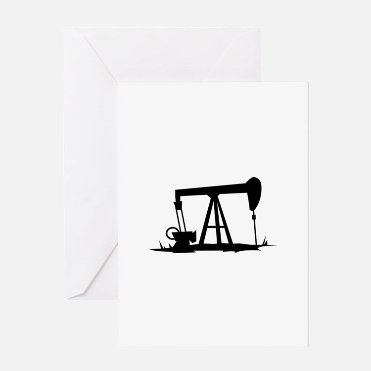 OIL WELL SILHOUETTE Greeting Cards