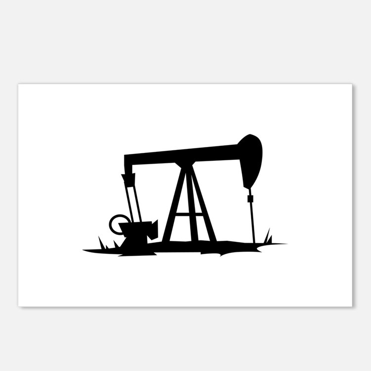 OIL WELL SILHOUETTE Postcards (Package of 8)
