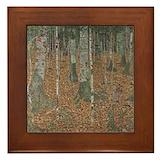 Gustav klimt art birch Framed Tiles