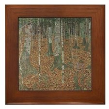 Gustav Klimt Art Framed Tile Birch Tree Forest