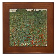 Gustav Klimt Art Framed Tile Poppy Field