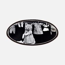 vintage laundry cat black white photo Patches
