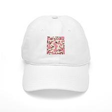 vintage mauve pink floral print Baseball Cap