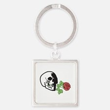 SKULL APPLIQUE WITH ROSE Keychains