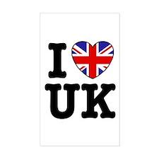 I Love UK Rectangle Decal