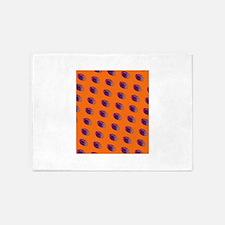 Orange Purple Football Couch Potato 5'x7'Area Rug